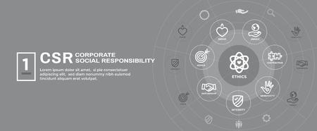Illustration pour CSR-Social Responsibility Web Banner Icon Set & Web Header Banner w Honesty, integrity, collaboration, etc - image libre de droit