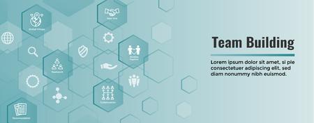 Illustration pour Team Building, Teamwork, & Connectivity Icon Set with Stick Figures and Intersections  Web Header Banner - image libre de droit