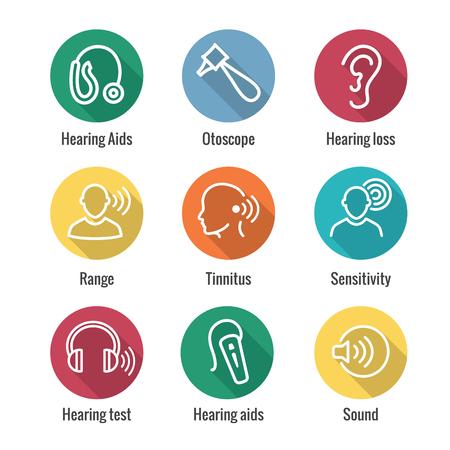 Illustration pour Hearing Aid or loss w Sound Wave Image Icon Set - image libre de droit
