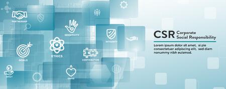 Ilustración de CSR-Social Responsibility Web Banner Icon Set - Imagen libre de derechos