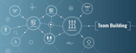 Ilustración de Team Building, Teamwork, and Connectivity Icon Set with Stick Figures and Intersections Web Header Banner - Imagen libre de derechos