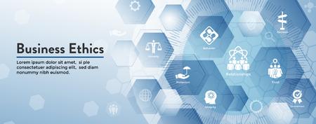Illustration pour Business Ethics Web Banner Icon Set - Honesty, Integrity, Commitment, and Decision - image libre de droit