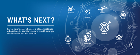 Illustration pour What's Next Header Web Banner showing - Next Big Idea - image libre de droit
