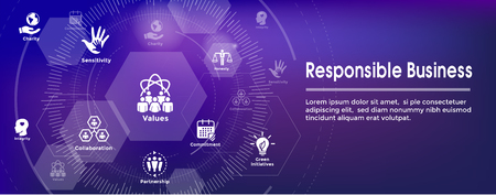 Foto per Social Responsibility Web Banner Icon Set & Web Header Banner w Honesty, integrity, collaboration, etc - Immagine Royalty Free
