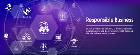 Ilustración de Social Responsibility Web Banner Icon Set & Web Header Banner w Honesty, integrity, collaboration, etc - Imagen libre de derechos