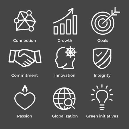 Illustration pour Core Values Outline or Line Icon Conveying Integrity & Purpose - image libre de droit