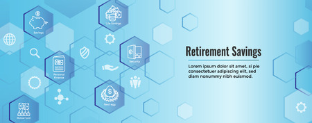 Illustration pour Retirement Account & Savings Icon Set Web Header Banner - Mutual Fund, Roth IRA, etc - image libre de droit