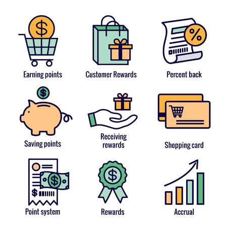 Illustration pour Customer Rewards Icon Set w Shopping Bag and Discount Images - image libre de droit