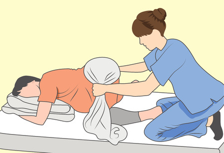 Illustration for Pregnant woman with nurse supporting baby and mother w towel - Royalty Free Image