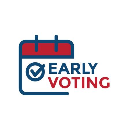 Illustration pour Early Voting Icon with Vote, Icon, & Patriotic Symbolism and Colors - image libre de droit