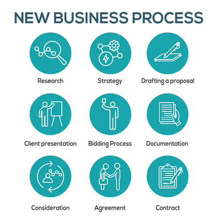 Illustration pour New Business Process Icon Set w Bidding Process, Proposal, & Contract - image libre de droit