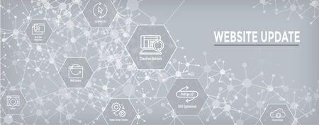 Illustration pour Website Update Icon Set & Web Header Banner - image libre de droit