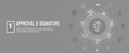 Approval and Signature Icon Set & Web Header Banner
