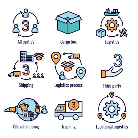 Ilustración de Logistics icon set w buildings, trucking, people and shipping box - Imagen libre de derechos