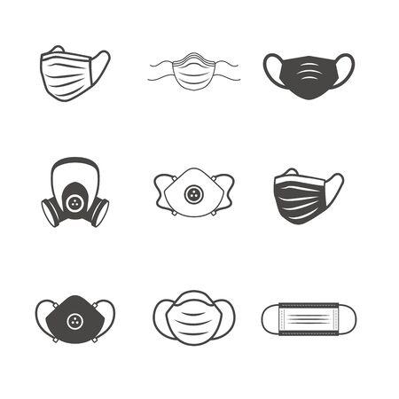 Illustration pour Sanitation & protection facemask ppe icon set with respiratory face masks  - image libre de droit