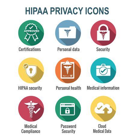Illustration pour HIPAA Compliance icon set - hippa image involving medical privacy - image libre de droit