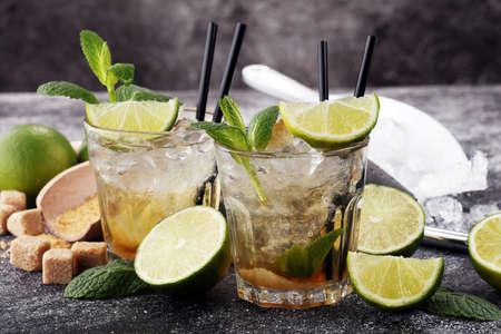 Photo for Lemon Fruit Lime Caipirinha of Brazil. cold alcohol cocktail. - Royalty Free Image