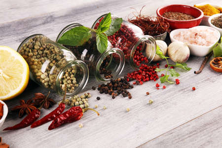 Photo for Spices and herbs on table. Food and cuisine ingredients on white table - Royalty Free Image