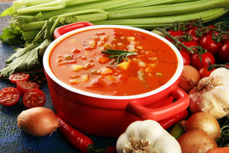 Photo pour Minestrone soup  with tomato in a pan on a light table, top view. Italian soup with pasta and seasonal vegetables. Delicious vegetarian food concept. - image libre de droit