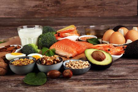 Foto für healthy eating and diet concept - natural rich in protein food on table - Lizenzfreies Bild
