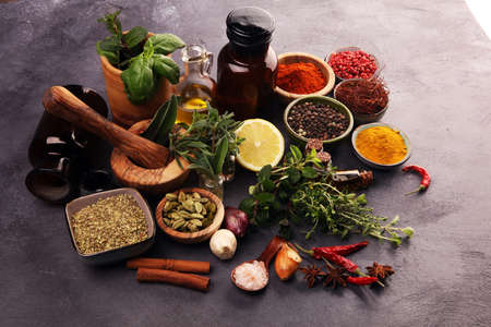 Photo pour Spices and herbs on table. Food and cuisine ingredients on table - image libre de droit