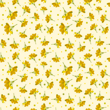 Illustration pour Seamless cute floral pattern. Yellow flower wallpaper. Vector background illustration - image libre de droit