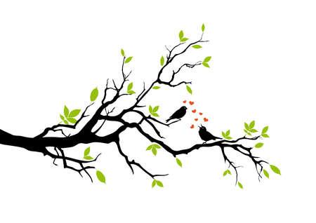 spring, two birds in love, vector