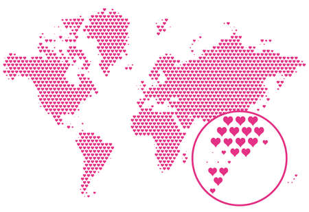 love the world, map with hearts, vector