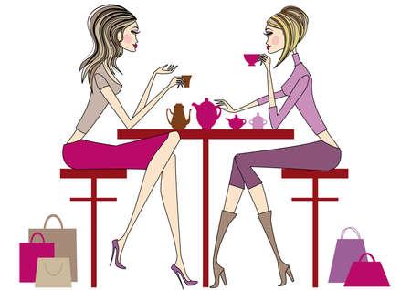 Women sitting in coffee bar, drinking coffee and tea, vector