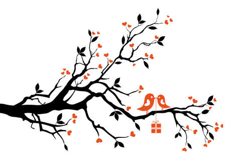 love bird with gift box, sitting on a tree branch, vector background