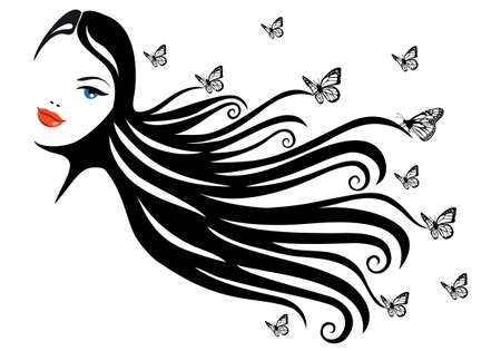 woman with black hair and butterflies, vector illustration
