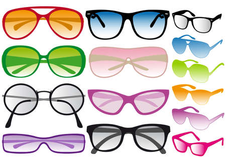 set of colorful sunglasses, vector
