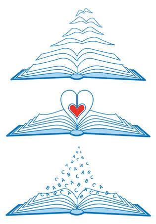 love reading, set of open books illustration
