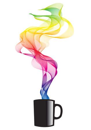 coffee mug with colorful smoke, vector illustration