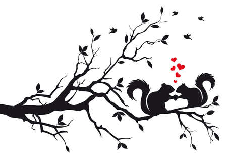 squirrels on tree branch, vector background