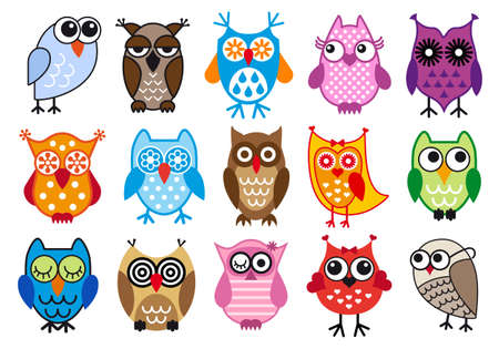 set of colorful owls, vector illustrationのイラスト素材