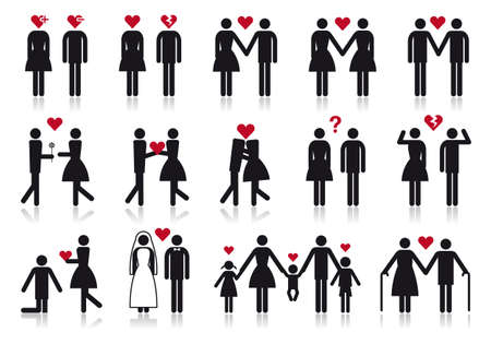 love and relationship, vector people icon set