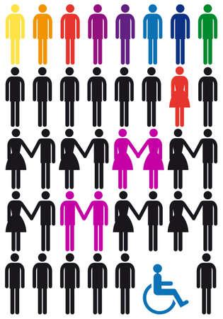 Ilustración de diversity concept, vector people icon set - Imagen libre de derechos