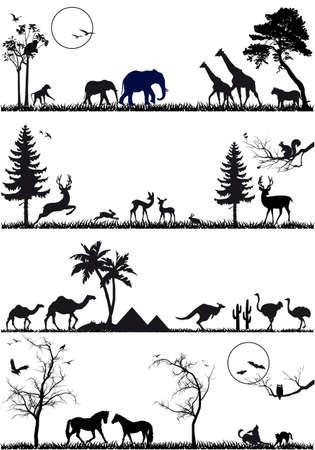 Illustration pour wildlife animals, vector background set - image libre de droit