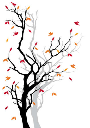 Autumn tree with colorful falling leaves, vector background