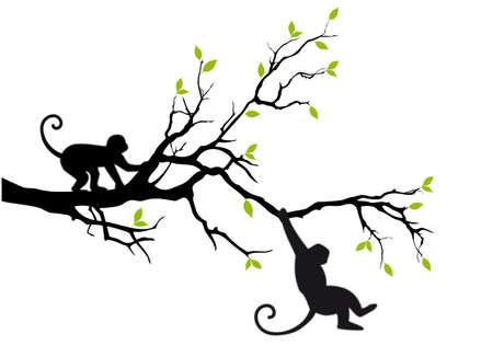 Ilustración de monkey hanging on tree branch - Imagen libre de derechos