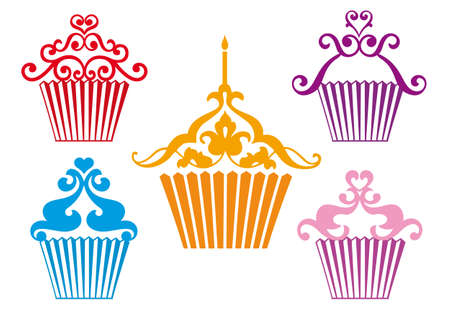 set of stylized cupcakes designs