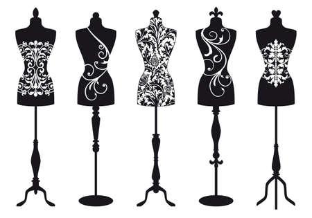 set of stylish fashion dress forms
