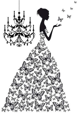 woman with butterflies and vinatge chandelier