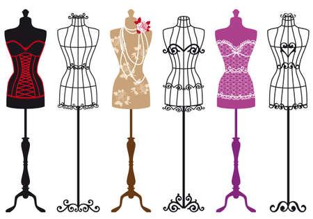 Ilustración de set of stylish fashion dress forms - Imagen libre de derechos