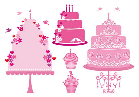 Cakes and cupcakes with hearts, flowers and birds, vector set