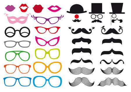 huge set of mustache and spectacles,design elements