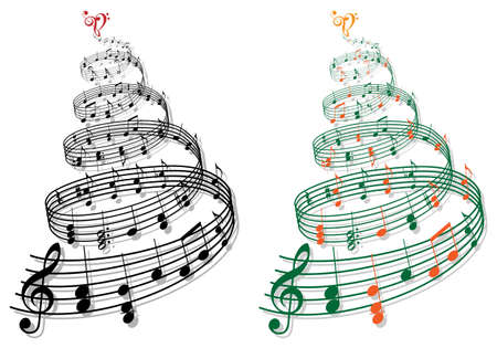 swirly tree with music notes illustration