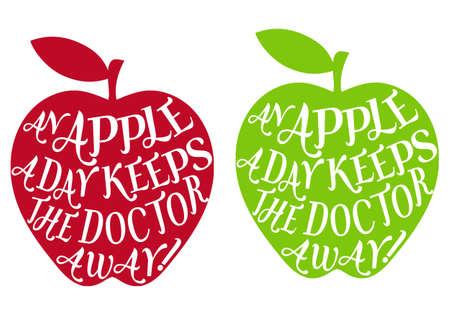Ilustración de an apple a day keeps the doctor away, vector - Imagen libre de derechos