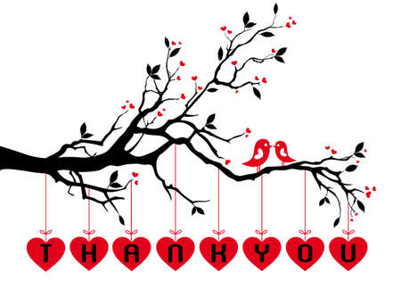 Cute love birds on tree branch with red hearts,  background